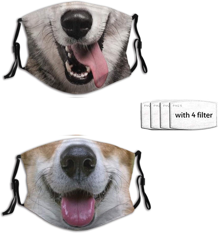 2pcs Funny Animal Face Mask, Fashion Dog SCarf, Reusable Balaclava Bandana With 4 Filters