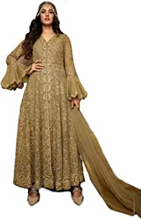 Women's Anarkali Churidaar Suit with Flared cut work long sleeves and dupata