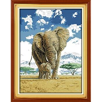 Elephants 100/% Cotton DIY Embroidery Starter Kits DIY Needlework for Beginners Kids Adults Mom and Sons deep Love 30 x 23.3 1 Full Range of Stamped Cross Stitch Kits 11 CT