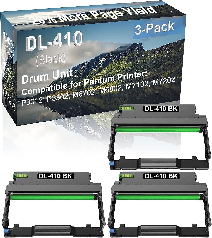 3-Pack (Black) Compatible M6702, M6802 Printer Drum Unit Replacement for Pantum DL-410 Drum Kit