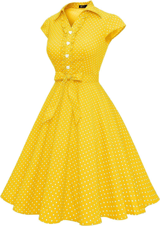 WedTrend Damen 50er Vintage Retro Rockabilly Swing Kleid Kurzer Ärmel Cocktailkleider Gelb Weiß Dot