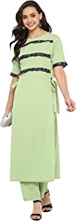 Janasya Women's Light Green Crepe Kurta With Pant