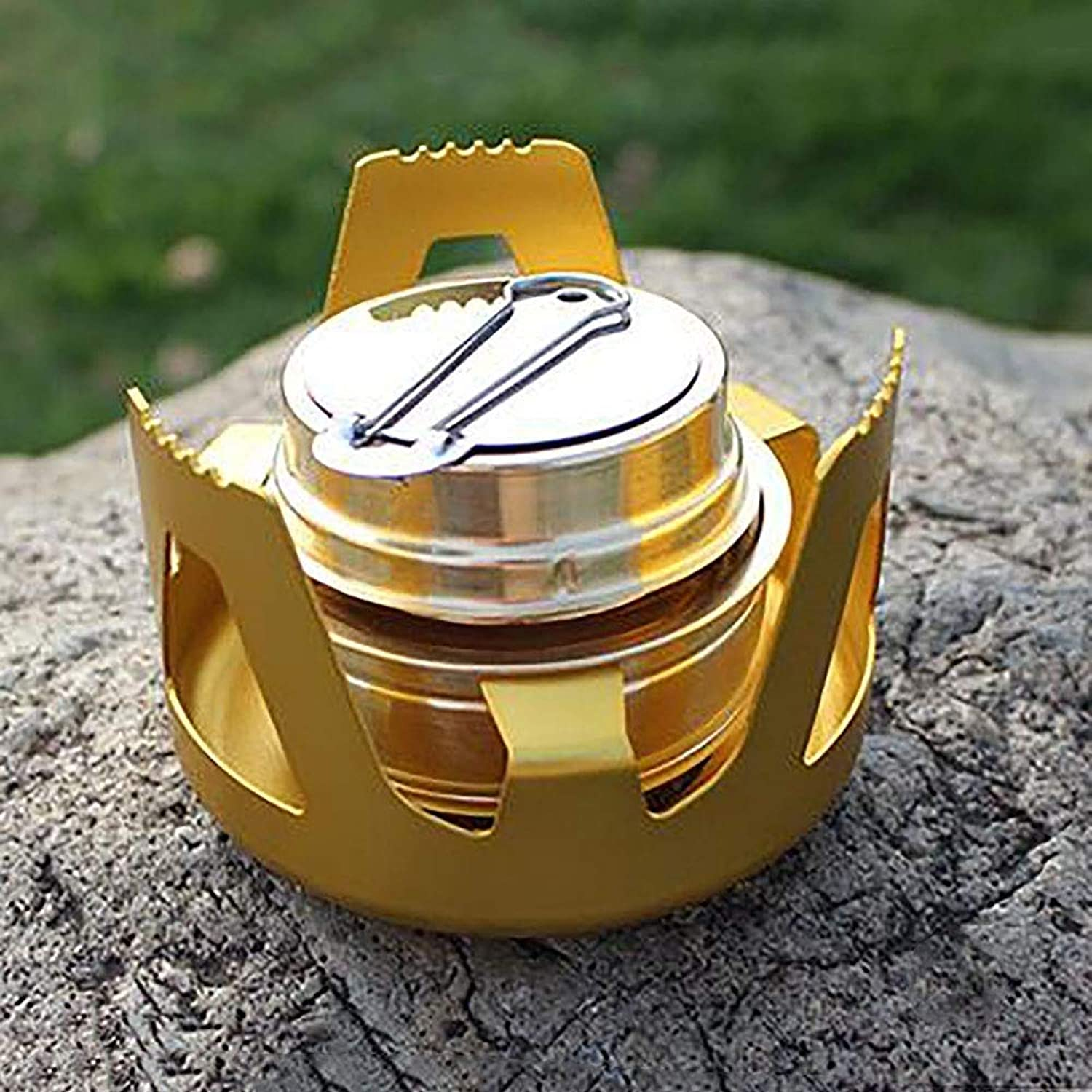 Camping Cooking Utensil Camping Stove Portable Alcohol Stove Stainless Steel Light Mini Alcohol Burning Stove Suitable for Outdoor Hiking Camping Cooking Barbecue Backpack Travel Grill Stove
