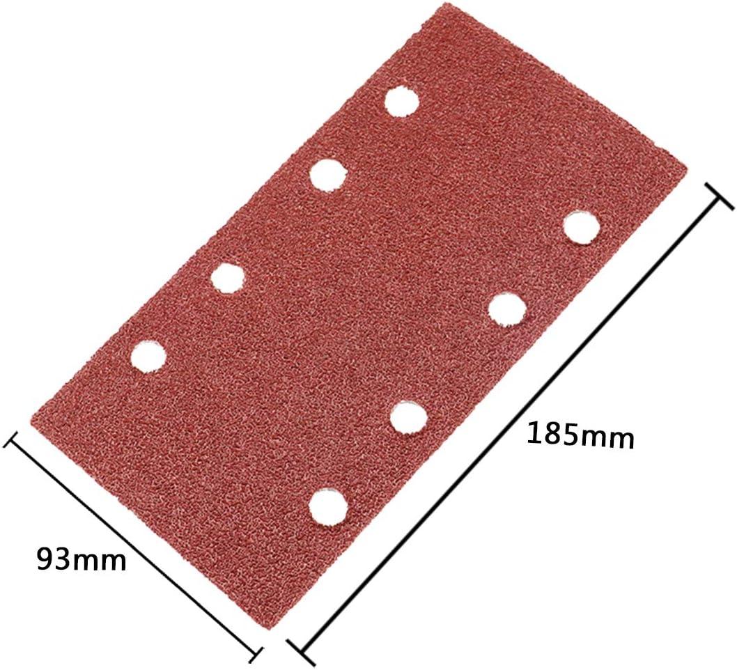 50PCS Sanding Sheets 93 x 185mm Hook Loop Sanding Paper 8 Holes Rectangular Sandpaper fit Bosh Sheet Orbital Sander Multi-Sander Grit 40 60 80 120 180
