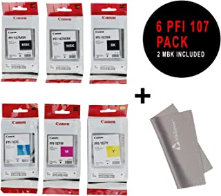 PFI-107 Set Genuine Canon Pfi-107 6 Pack Set of 5 Colors Ink Tanks 2 Pfi-107mbk,and 1 Pfi107bk Pfi107c Pfi107y Pfi107m by Canon + InkSAVER Microfiber LCD Screen Cleaning Cloth