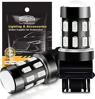 3157 LED Bulbs, LIGHSTA Super Bright 24-SMD 9-30V 3056 3156 3057 4057 3157K 4157 LED Bulbs with Projector for Brake Tail Lights, Turn Signal Lights, Parking Lights, Brilliant Red(Pack of 2)