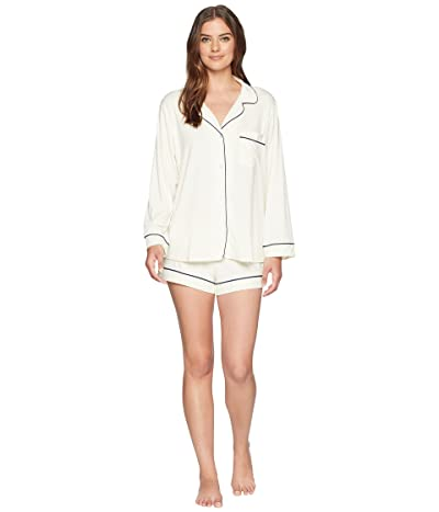 Eberjey Gisele Long Sleeve Short and PJ Set (Ivory/Navy) Women