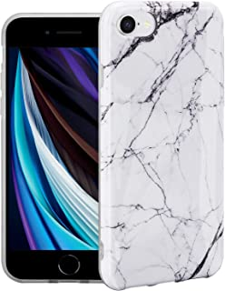 Ylife Marble Series Case for iPhone 7/8/SE 2020 and Clear Soft TPU Cover Ultra-Thin Anti-Fall - White Texture