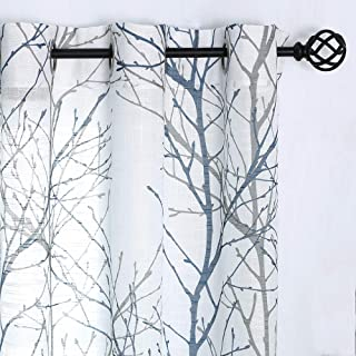 """Fmfunctex Blue White Curtains 84"""" for Living Room Grey Tree Branches Print Curtain Set Linen Textured Semi-Sheer Window Drapes for Bedroom Grommet Top, 2 Panels"""