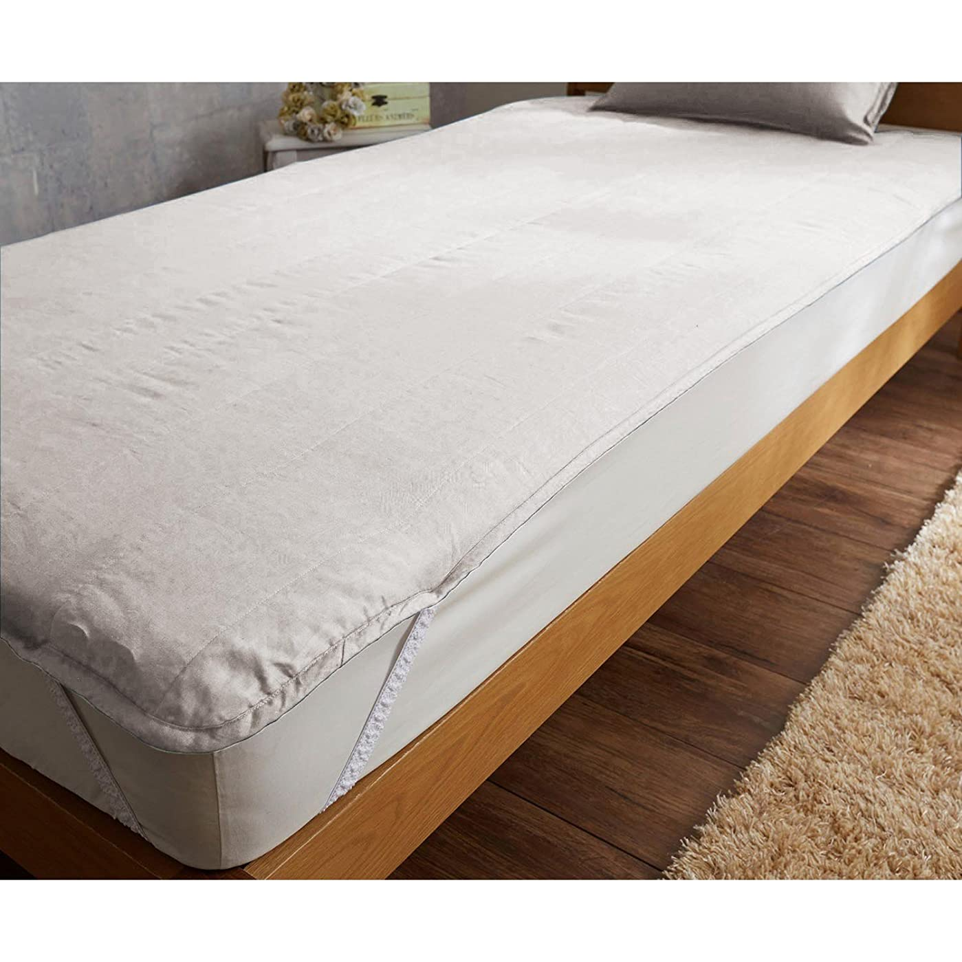 ブレンド降伏なる[ベルメゾン] 敷きパッド ダブル リネン 洗える 140×200cm 麻100% フレンチリネン敷きパッド アイボリー