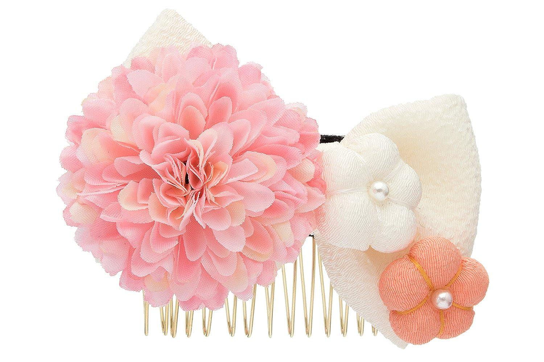 (ソウビエン) 髪飾り 白 ホワイト ピンク リボン ピンポンマム 菊 梅 花 フラワー 縮緬 ちりめん 小さめ コーム 髪留め 卒業式 袴 浴衣 七五三 ヘアアクセサリー 日本製