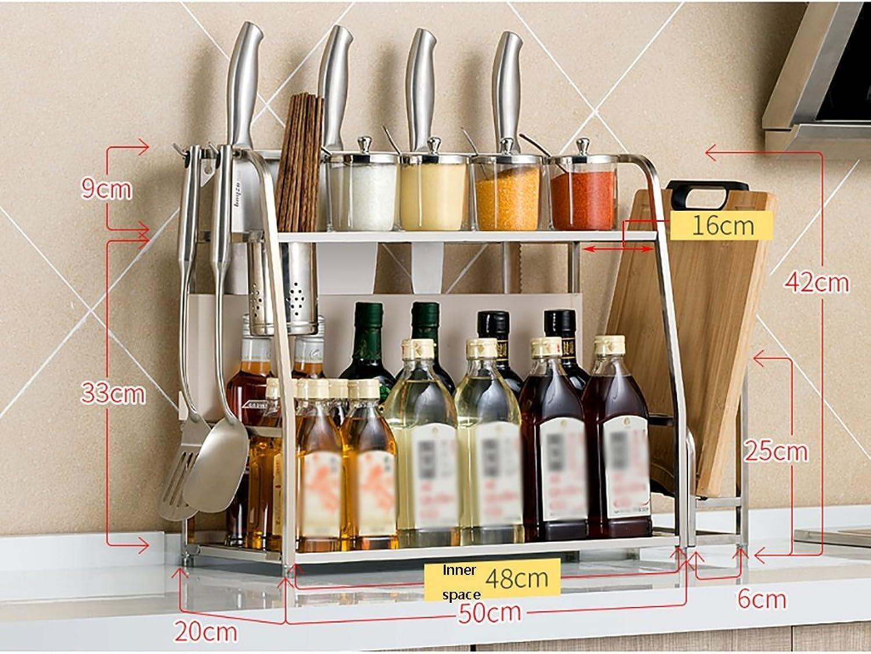 LXLA- 2-Tier Seasoning Rack Kitchen Shelf Utensils Cutting Board Spice Storage Multifunction Multilayer Stainless Steel 40 50×20×42cm (Size   50cm)