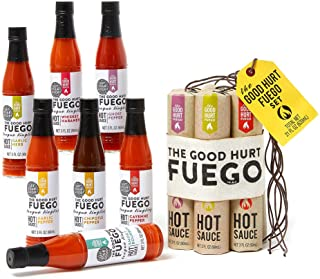 Thoughtfully Gifts, The Good Hurt Fuego: A Hot Sauce Gift Set for Hot Sauce Lover's, Sampler Pack of 7 Different Hot Sauce...