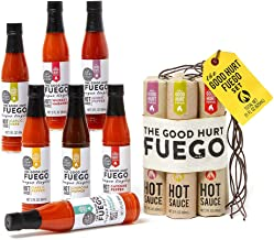 Thoughtfully Gifts, The Good Hurt Fuego: A Hot Sauce Gift Set for Hot Sauce Lover's, Sampler Pack of 7 Different Hot Sauces Inspired by Exotic Flavors and Peppers from Around the World
