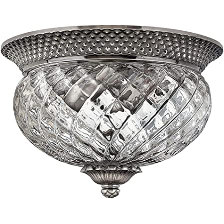 Hinkley Plantation Collection Traditional Two Light Flush Mount, Polished Antique Nickel