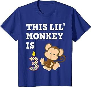 Kids Monkey Party Birthday 3 Year Old Shirt 3rd Cartoon Gift Kids T-Shirt
