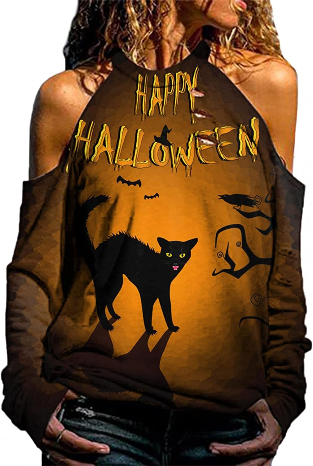 Pullover Sweatshirts for Women Aesthetic Halloween Halter Neck Off Shoulder Hollowed Out Skeleton Long Sleeve Shirts Top