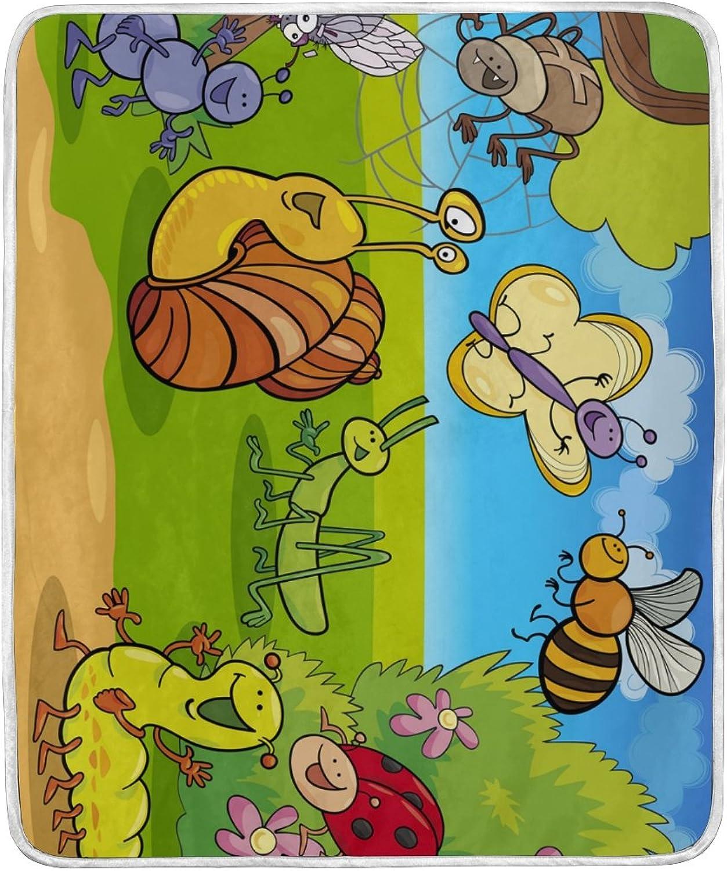 ColourLife Soft Blanket Throw Cozy Warm Flannel Fleece Blanket for Kids Women Bed Sofa Couch Beach 4'2  x 5' Cartoon Wild Animals