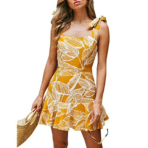 d9ee1497c88 BMJL Women s Zipped Floral Sleeveless Slim Backless A Line Slip Ruffle Tie Short  Mini Dress