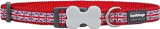 Disabled-Signs.com Red Dingo Union Jack Flag Patterned Dog Collar, S, 12 mm, Neck Size 20-32 cm