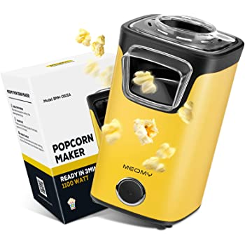 MEOMY Popcorn Maker, Electric Hot Air Popcorn Machine with Measuring Cups, Oil Free, Perfect for Birthday Parties, Movie Nights, Yellow
