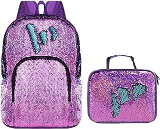 Reversible Sequin Backpack for Girls with Flip Sequins Lunch Bag Set