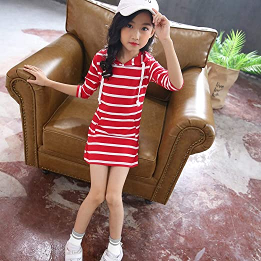 Teen Kids Girls Long Sleeve Stripe Slim Pencil Skirt Hooded Casual Hoodie Dress