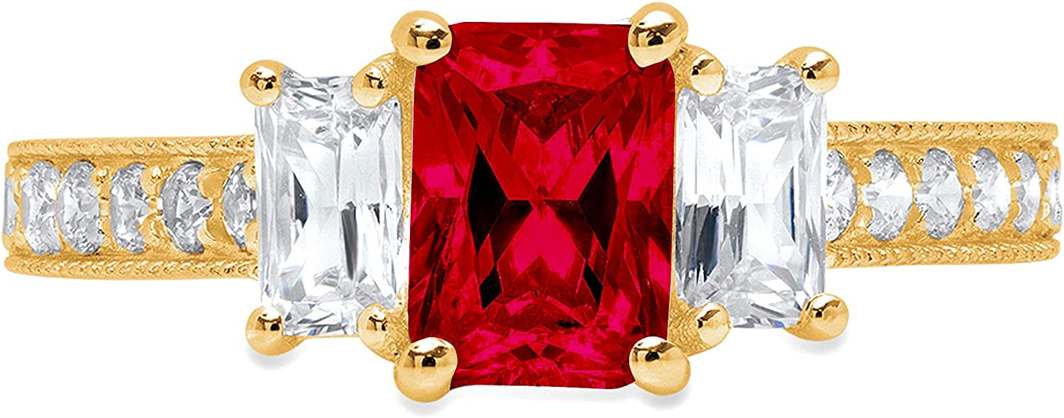 1.76ct Emerald Round Cut Solitaire 3 stone With Accent Natural Crimson Deep Red Garnet Gemstone Ideal VVS1 Engagement Promise Statement Anniversary Bridal Wedding ring 14k Yellow Gold