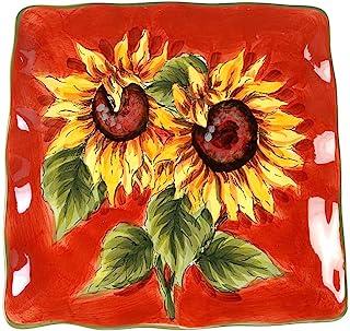 MAXCERA Red Sunflower Square Dinner Plate