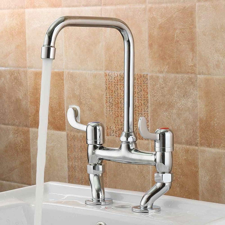 SLTYSCF wasserhahn Deck Montiert Becken Wasserhahn 360 Grad-umdrehung Badezimmer Küchenhahn Doppel Griffe Schwanenhals Design Waschbecken Wasserhahn