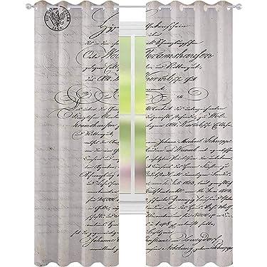YUAZHOQI Cortinas opacas para dormitorio, texto manuscrito antiguo manuscrito antiguo, letra vintage grunge fondo, 52.0 x 64.2in, cortinas decorativas para sala de estar