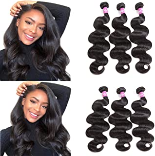 Brazilian 10A Body Wave Hair Weft 3 Bundles 100% Human Hair Weaves Natural Black by Dilys(8 8 8inch)