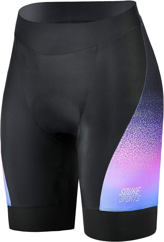 Pantalones Cortos De Ciclismo para Mujer 4D Acolchados para Bicicleta De Carretera Pantalones Cortos Transpirables De Secado R/ápido Souke Sports