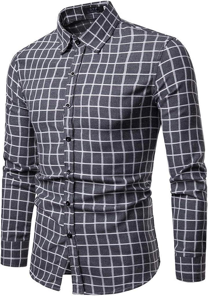 MODOQO Men's Shirt-Fashion Plaid Leaf Long Sleeve Button Down Wrinkle-Free Business T-Shirt