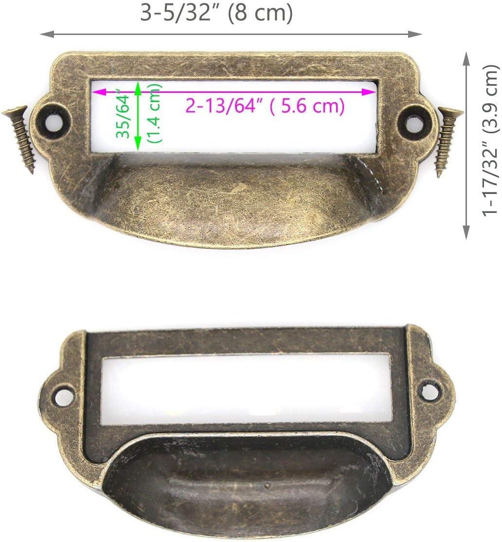 8 PCs Antique Brass Card Holder Drawer Pull/Label Tag Frames/for ...