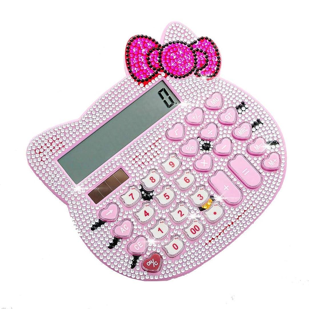 無線石化する悲劇ビジネス電卓 かわいいプラスラインストーン漫画猫の頭の太陽環境の電卓 ミニジャストタイプ電卓 (色 : ピンク)