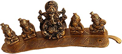 Collectible India Musical Ganesha Idol for Gift - Gold Plated God Ganesh Idols for Home Office Temple Decor Pujan Puja (Size 11 x 2.5 Inches)