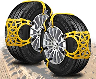 Zento Deals Premium Quality Car Snow Chains Durable 6 Pieces All Season and Terrain Anti-Skid Car, SUV, and Pick Up Tire Chains