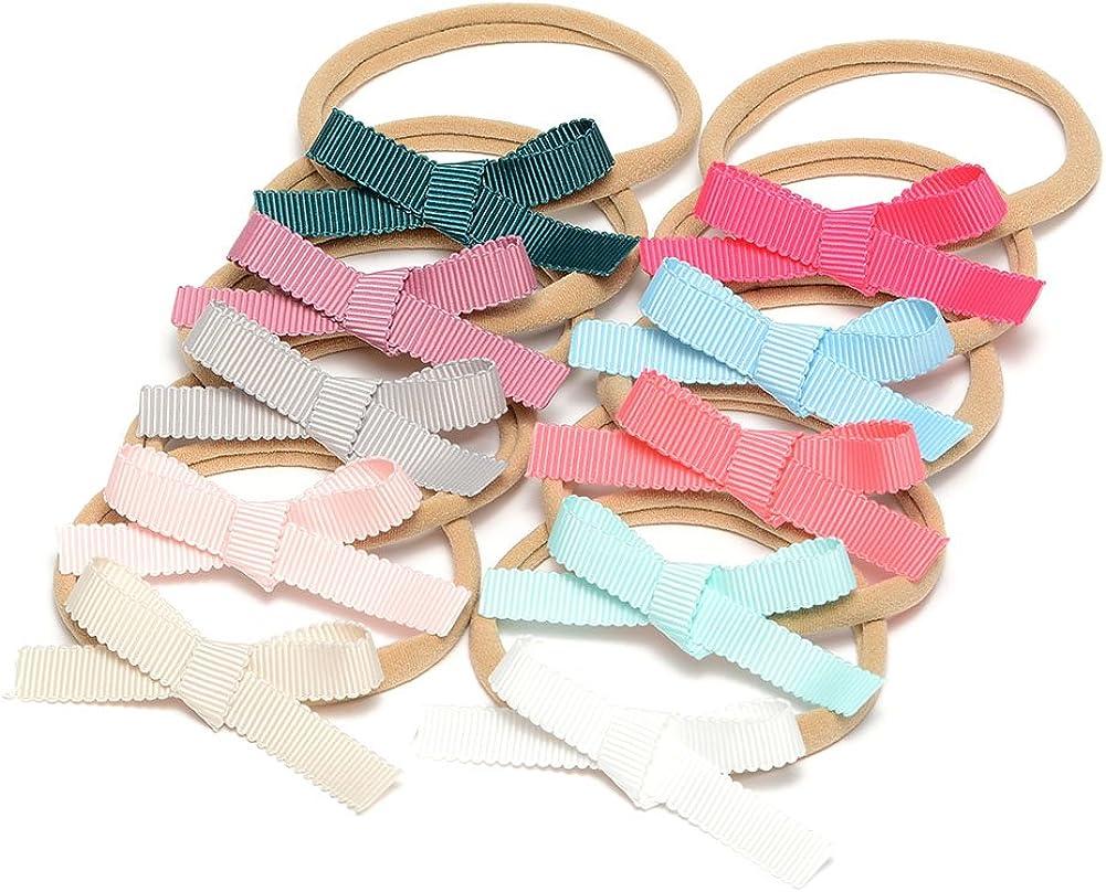 Petite Ribbon Baby Bow Nylon Headband Grosgrain Ribbon Infant Bow Hair Band For Babys Pack of 10pcs (MSNH033)