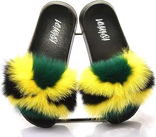 Women Fur Slippers Slides Open Toe Real Fox Fur Slippers Girls Fluffy Slip Jamaica Flag Rasta Caribbean