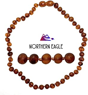 Northern Eagle Baltic Amber Necklace (Raw Baroque Cognac) Unisex - Amber Genuine Certified Authentic Natural (12.5 inch).