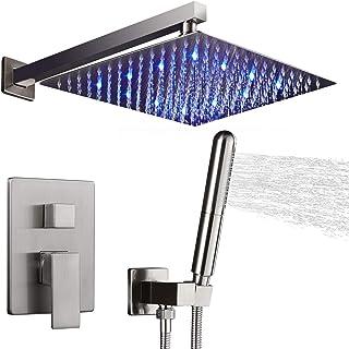 نظام استحمام بإضاءة LED من أوكتوبت، مجموعة تثبيت صنبور الدش مع رأس دش محمول، نيكل مصقول (يحتوي على مجموعة حواف الدش مع صما...