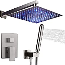 AUKTOPT LED Shower System, Bathroom Rainfall Shower Faucet Fixture Set with Shower Head and Handheld Shower, Brushed Nicke...