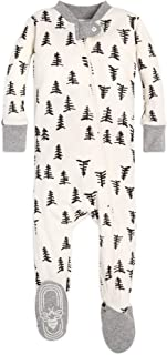 Burt's Bees Baby - Baby Boys Unisex Pajamas, Zip-Front Non-Slip Footed Sleeper PJs, Organic Cotton