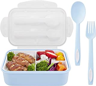 Lunch Containers for Kids & Adults | Bento Box Kids Lunch Box Containers with Spoon and Fork|3 Compartment Bento Lunch Box for Portable Healthy Meals(Blue)