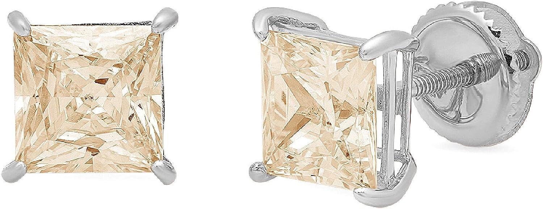 1.50 ct Brilliant Princess Cut Solitaire Genuine Yellow Moissanite Gemstone Pair of Designer Stud Earrings Solid 18K White Gold Screw Back