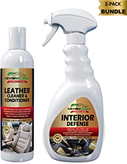 KevianClean Leather Cleaner and Conditioner & Interior Defense (2-Pk Bundle) Car Interior Cleaning Kit for Dashboard, Plastic, Trim and Leather