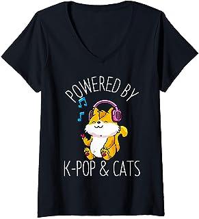 Femme K-Pop Chats Anime Kawaii Chat Neko Mignon Kpop Cadeau T-Shirt avec Col en V