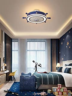 Lámpara de ventilador de techo lámpara de ventilador de techo invisible hogar dormitorio habitación comedor niños araña de dibujos animados con ventilador eléctrico-A