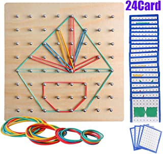USATDD Wooden Geoboard Mathematical Manipulative Material Array STEM Block Geo Board Graphical Educational Toys with 24Pcs Pattern Cards and Rubber Bands Shape Puzzle Matrix 8x8 Brain Teaser for Kid